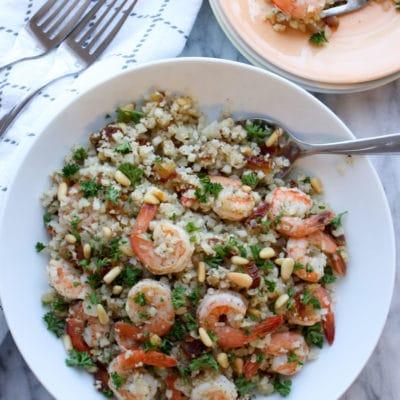 Close up of a bowl of Zaatar shrimp and rice