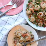 dish of shrimp and cauliflower rice and one serving on a plate