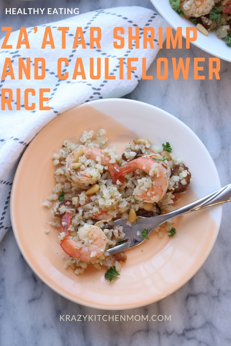 Za'atar Shrimp and Cauliflower Rice is a flavor combination of zesty herbs, lemon, and nuttiness. Za'atar is an amazing spice blend for low carb cooking. via @krazykitchenmom