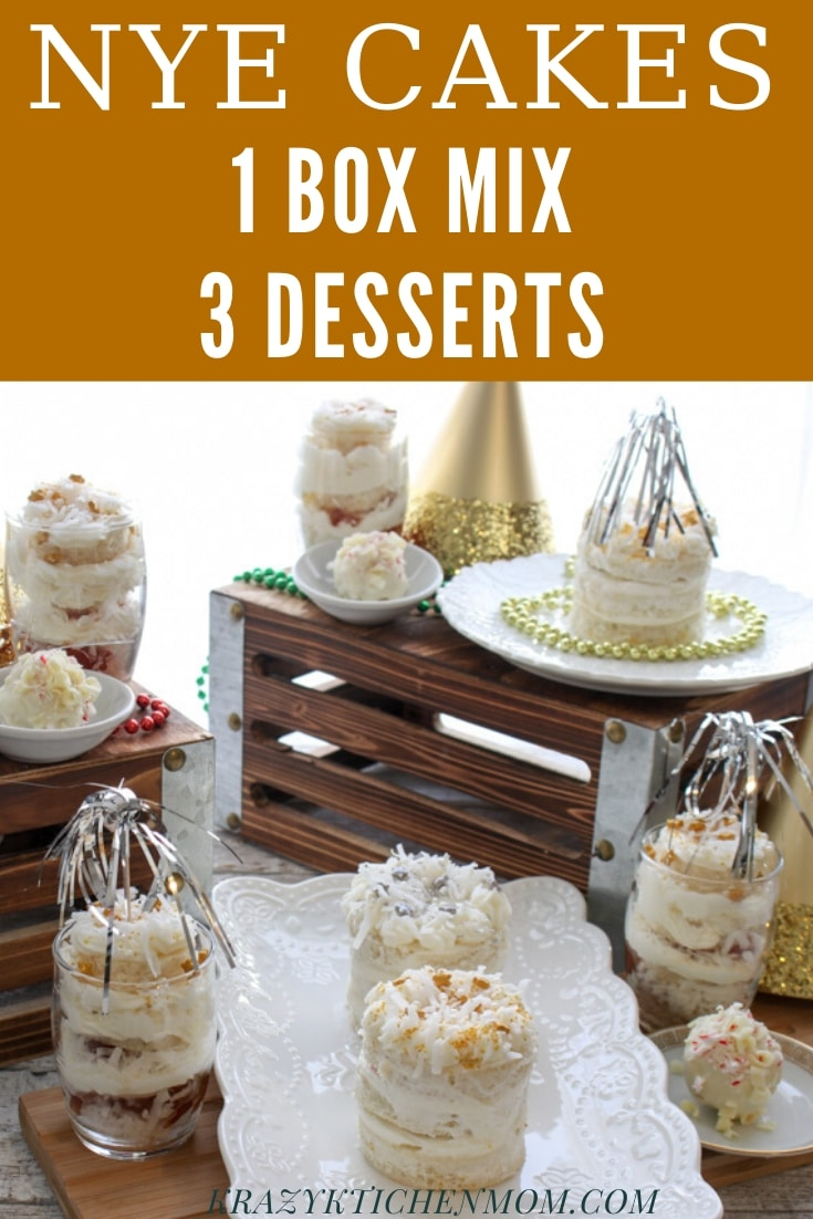 New Year's Cake Ideas - Using one boxed cakes mix, you can make three different New Year's mini cakes and desserts.  via @krazykitchenmom