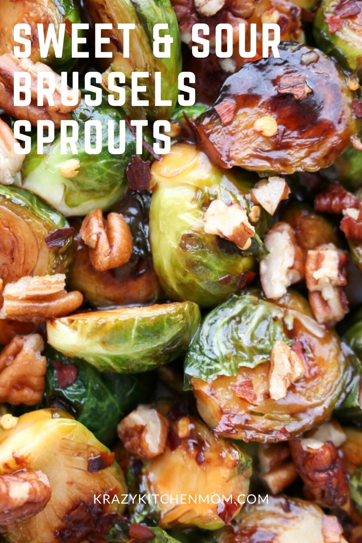 Sweet and Sour Glazed Brussels Sprouts are tangy, sweet, nutty, and caramelized to perfection. With only three ingredients, they are ready in less than 15 minutes. via @krazykitchenmom