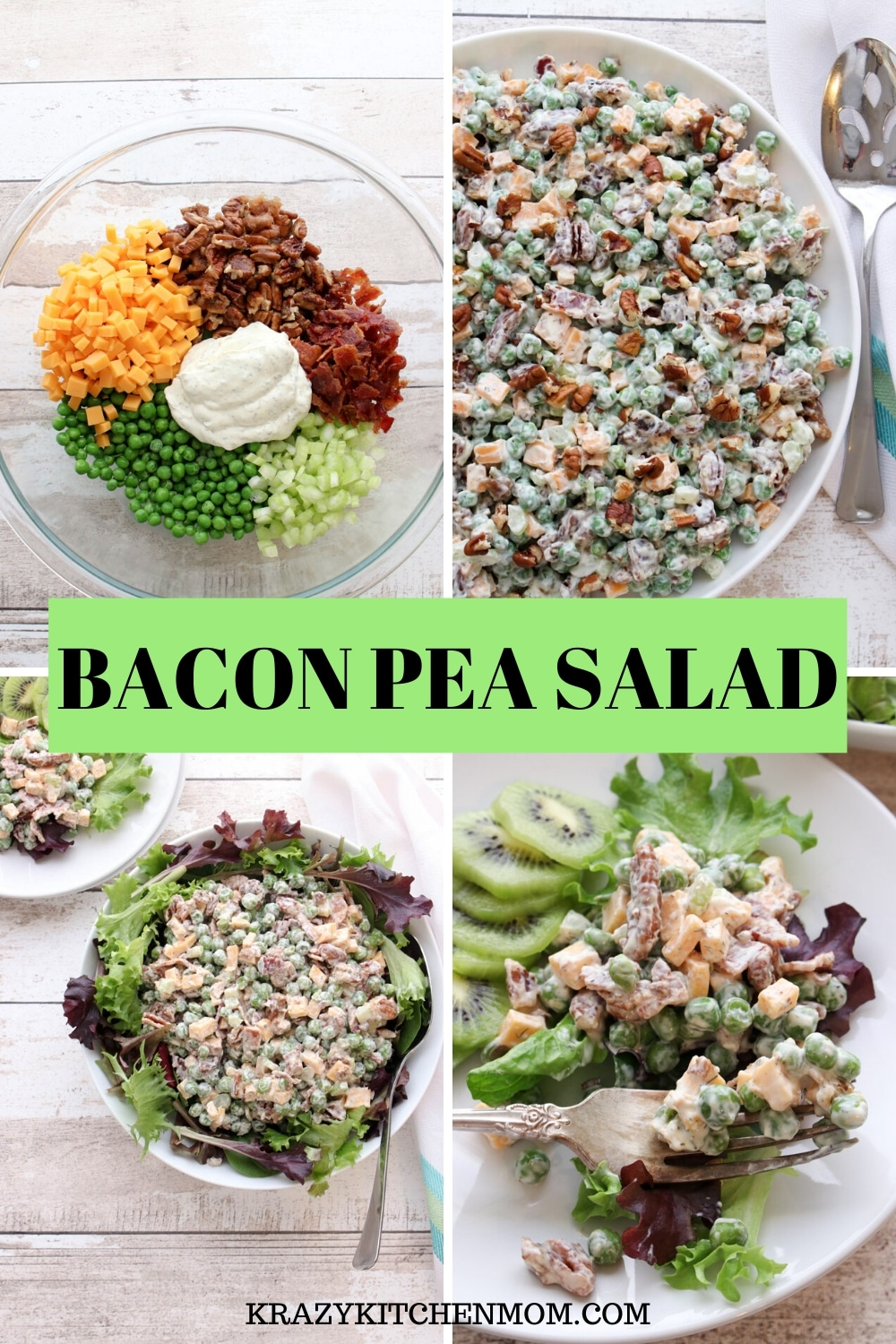 This easy Bacon Easy Pea Salad is loaded with veggies, peas, and bacon. It's the perfect salad or side dish with any meal. via @krazykitchenmom