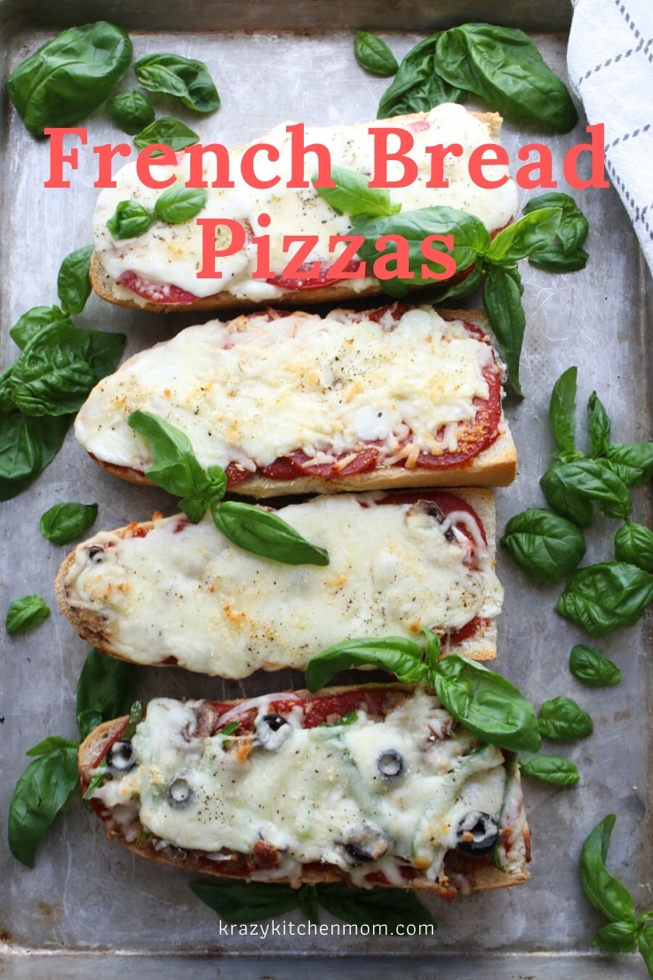 Four Easy French Bread Pizzas that are ready in 20 minutes. White Margarita Pizza, Classic Pepperoni Pizza, Mushroom and Onion Pizza, and Supreme Pizza. via @krazykitchenmom