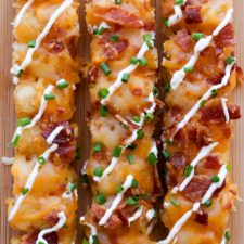 THREE LOADED TATER TOT KABOBS