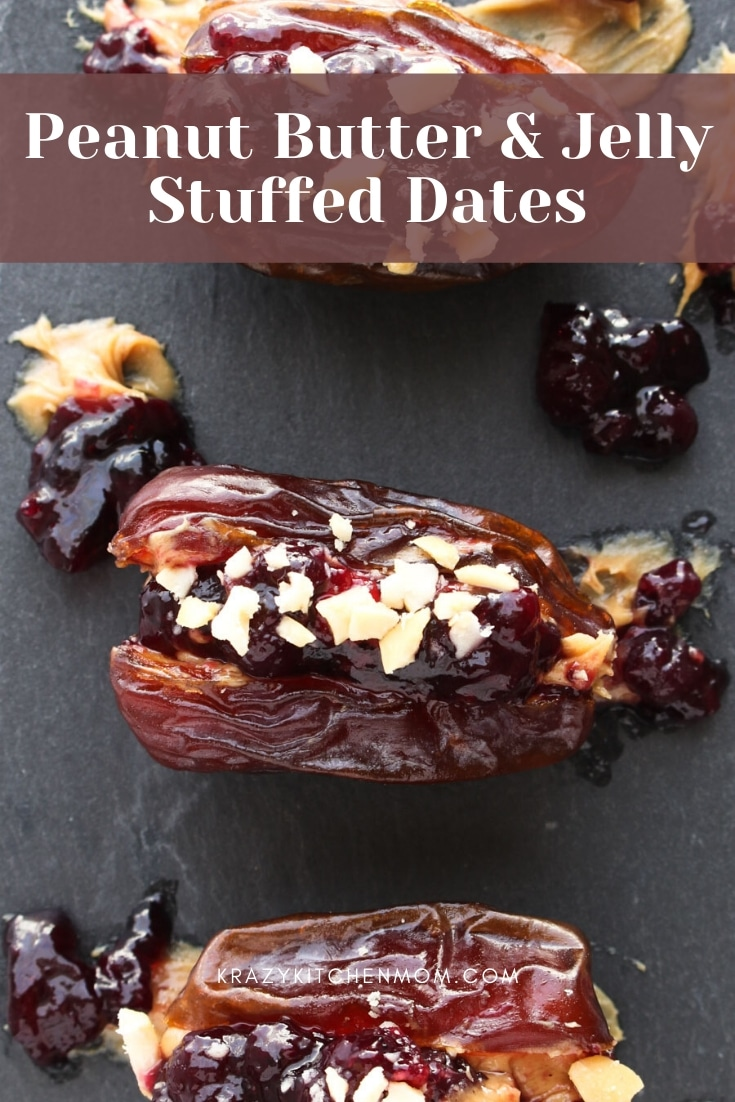 Creamy, nutty, crunchy, and sweet Peanut Butter & Jelly Stuffed Medjool Dates make a fantastic party appetizer or an afternoon snack for your family. via @krazykitchenmom