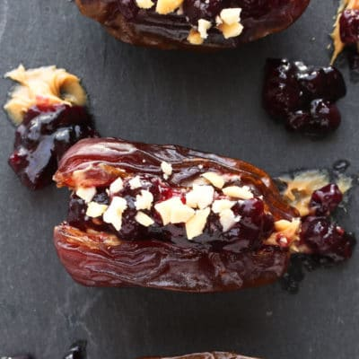 Peanut Butter & Jelly Stuffed Medjool Dates