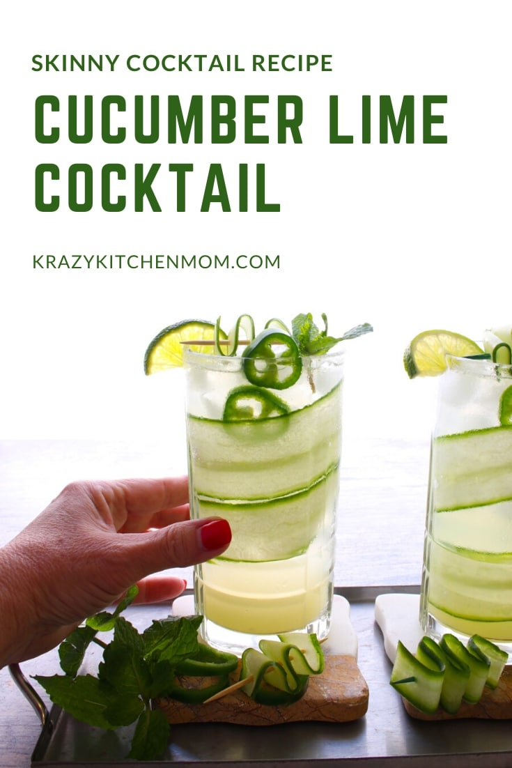 My Skinny Cucumber Lime Cocktail is only 119 calories. It's made with cucumber vodka, lime juice, and sparkling water. It gets a nice kick from sliced jalapeno.  via @krazykitchenmom