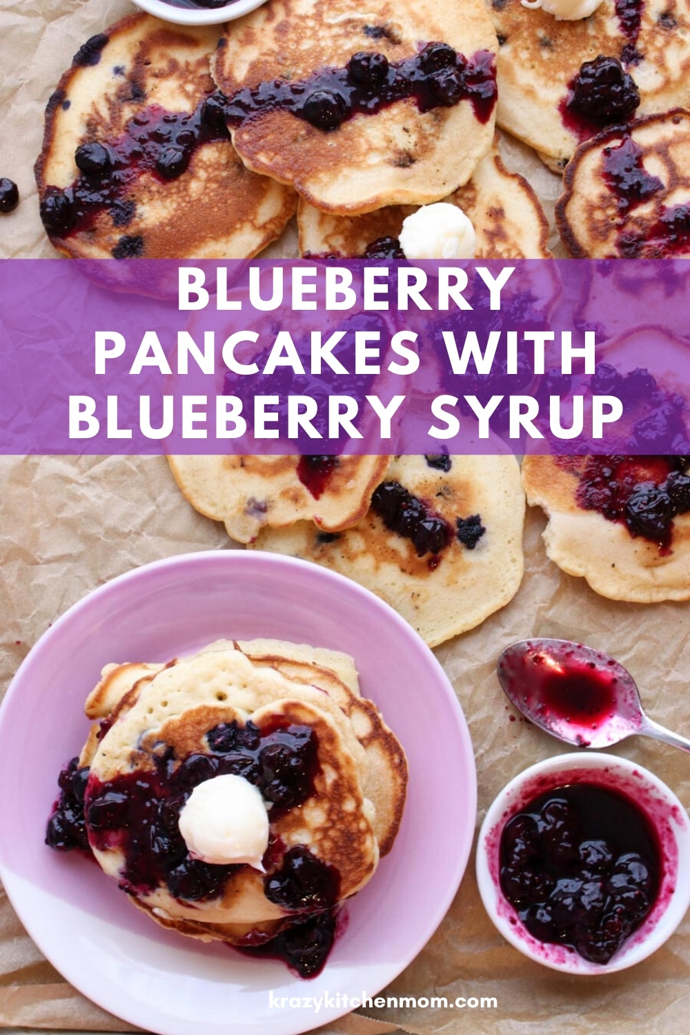 "If you love blueberries, you're going to love my Blueberry Pancakes with Blueberry Lemon Syrup recipe. Loaded with fresh blueberries with just the right ""zing"" from the lemon. via @krazykitchenmom"