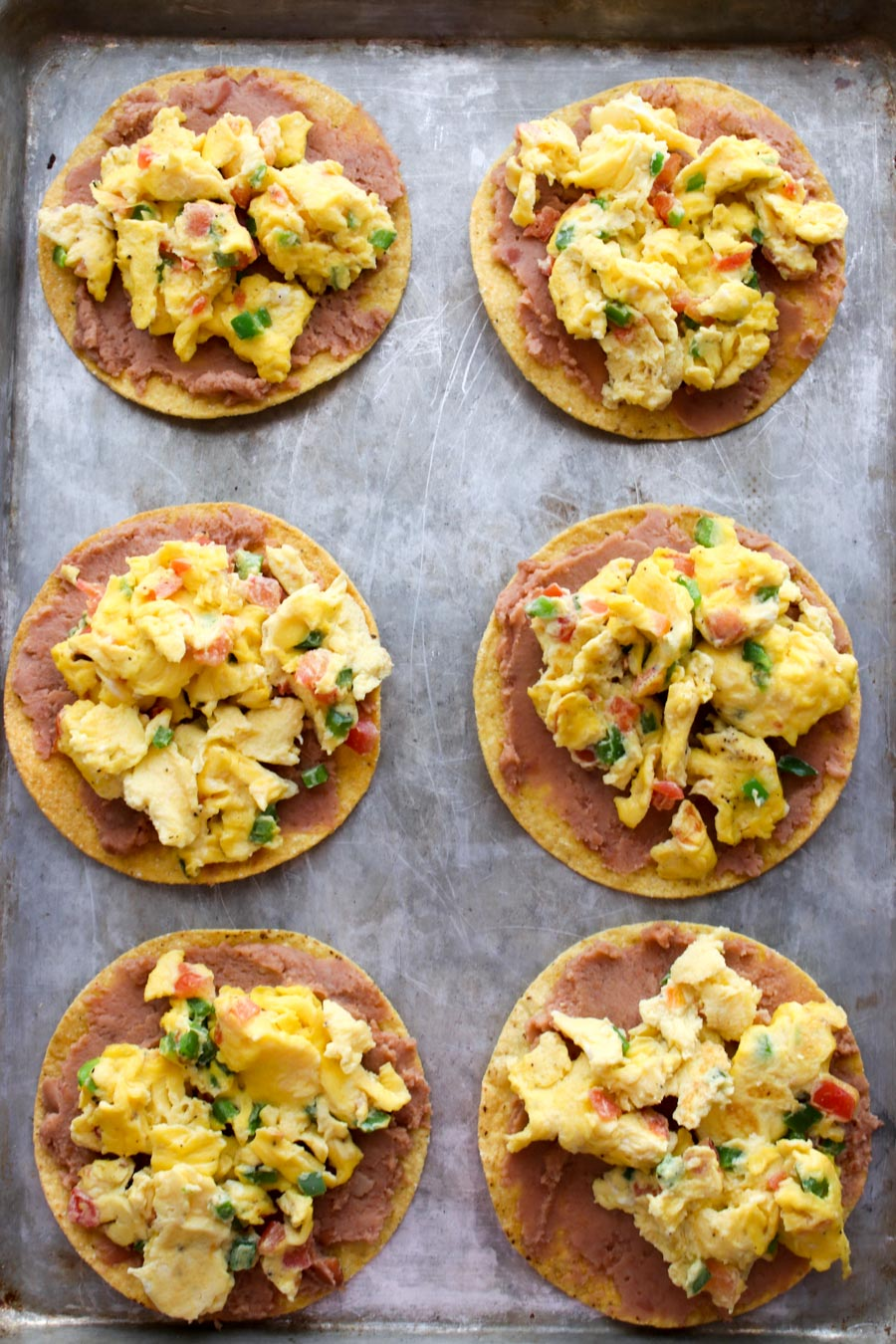 tostadas with beans and scrambled eggs