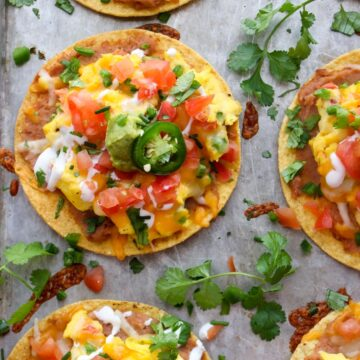 Loaded Tostadas on a cookie sheet