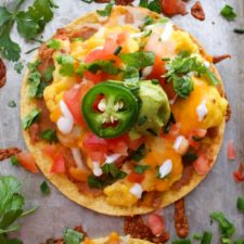 Close up shot of 1 breakfast tostada