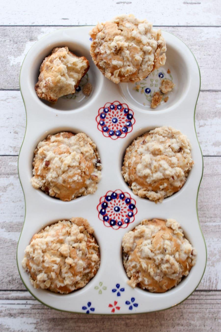 Coffee cake muffins in baking pan