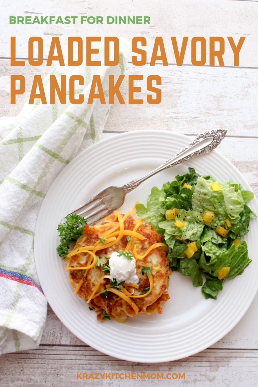 Everyone loves pancakes! And pancakes are great when you're craving breakfast for dinner. Especially with my Loaded Savory Pancakes.  via @krazykitchenmom