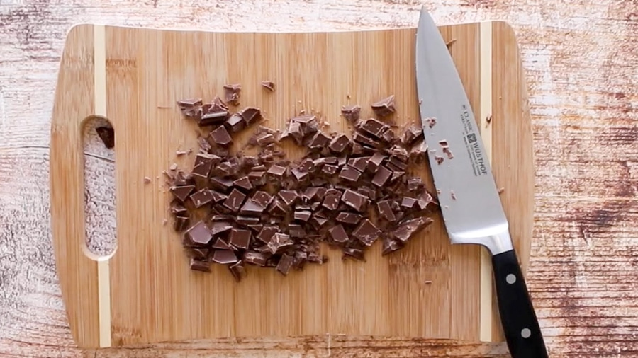 Chopped chocolate on a cutting board