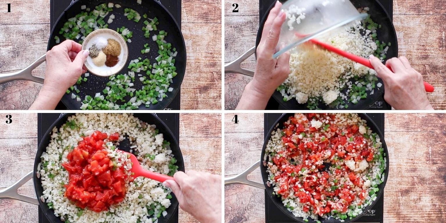 collage of how to make Spanish Cauliflower Rice