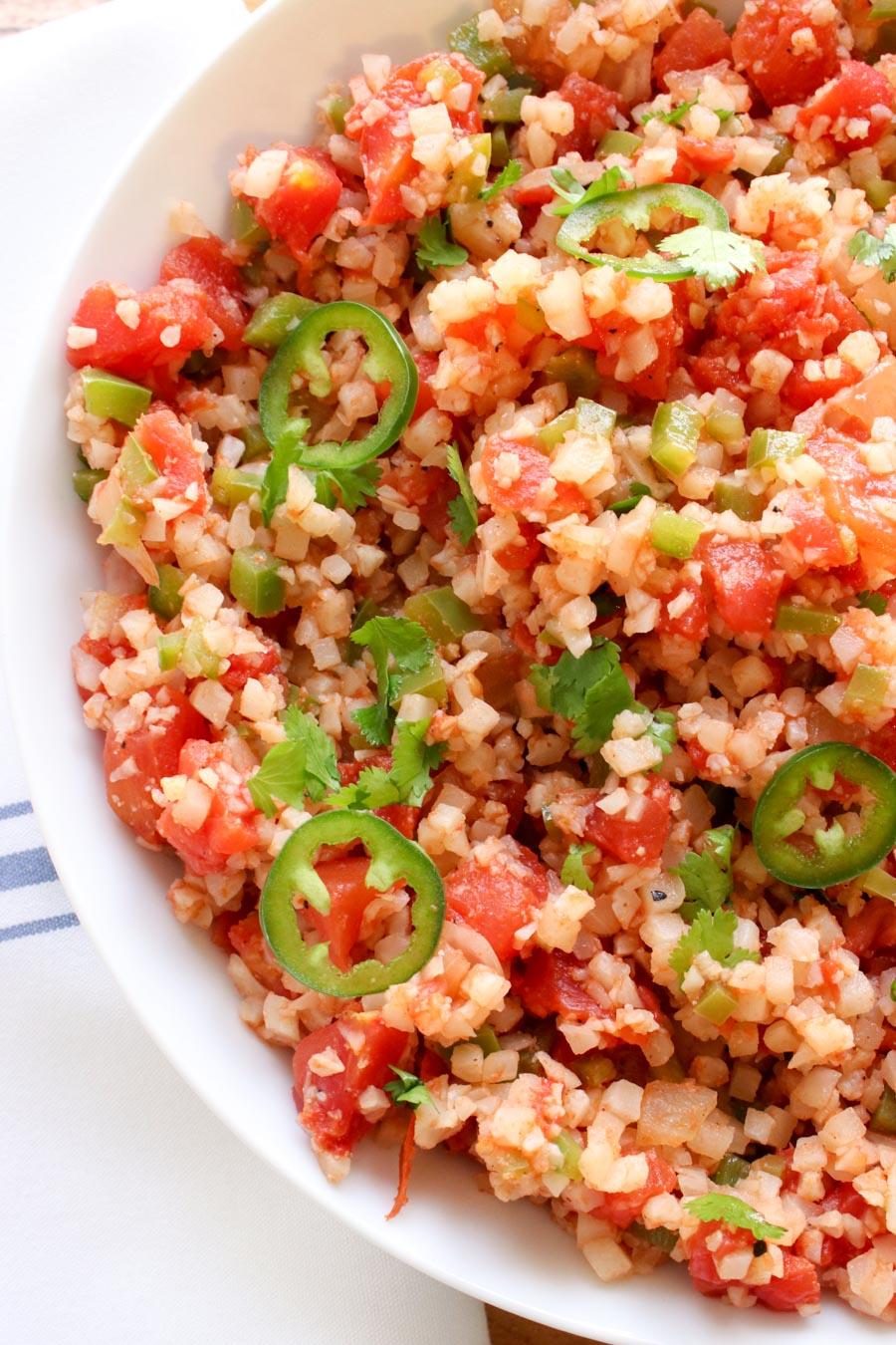 close up shot of Spanish Cauliflower Rice