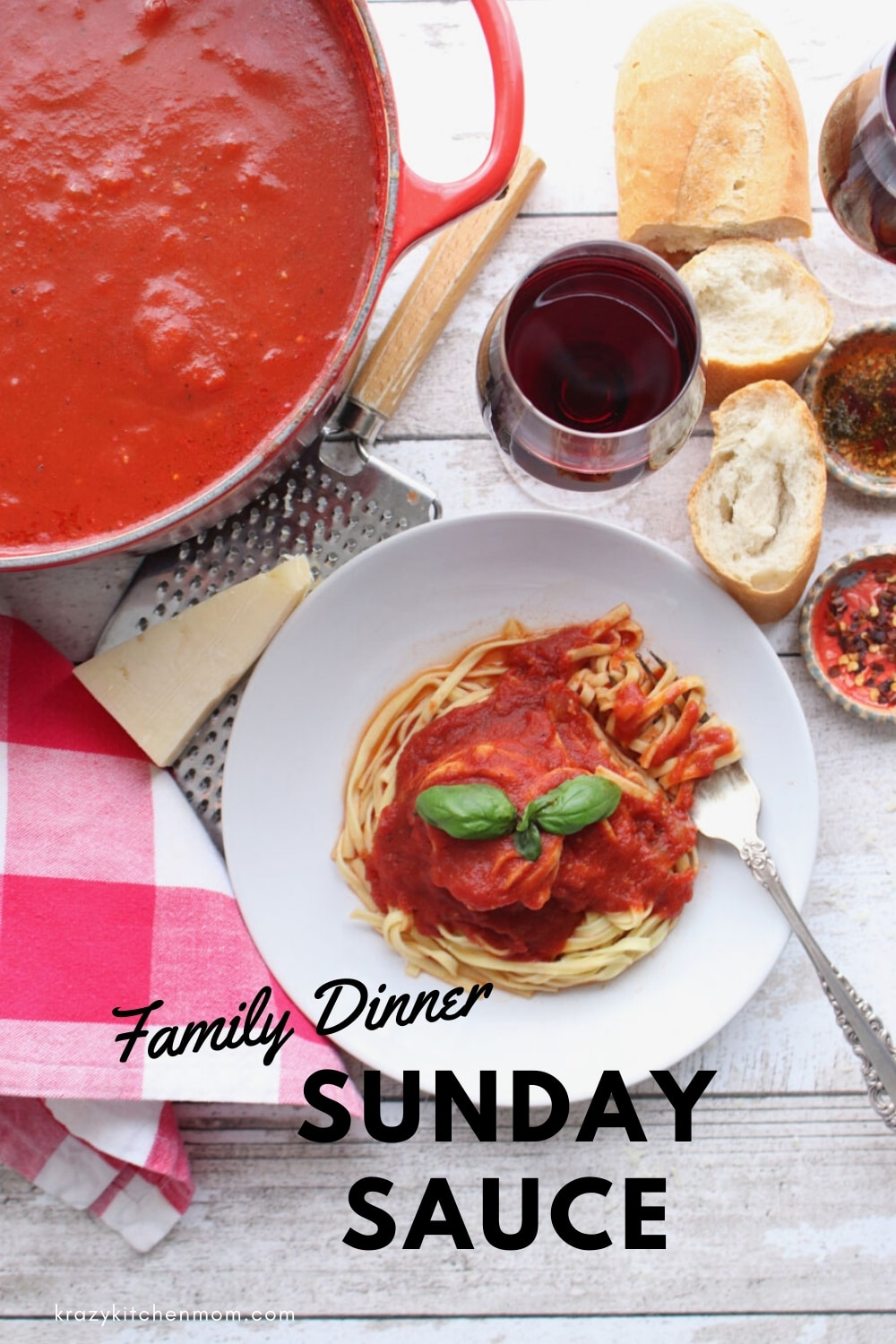 Sunday Sauce Spaghetti Sauce is cooked low and slow for a deep delicious sauce. via @krazykitchenmom