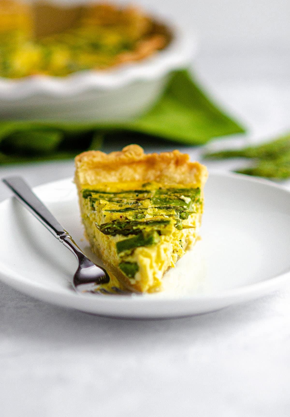 A slice of asparagus quiche