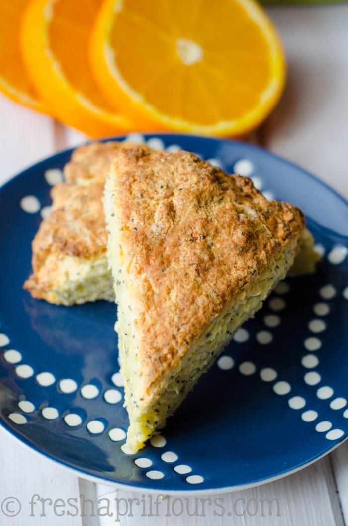 A slice of cake of orange scone