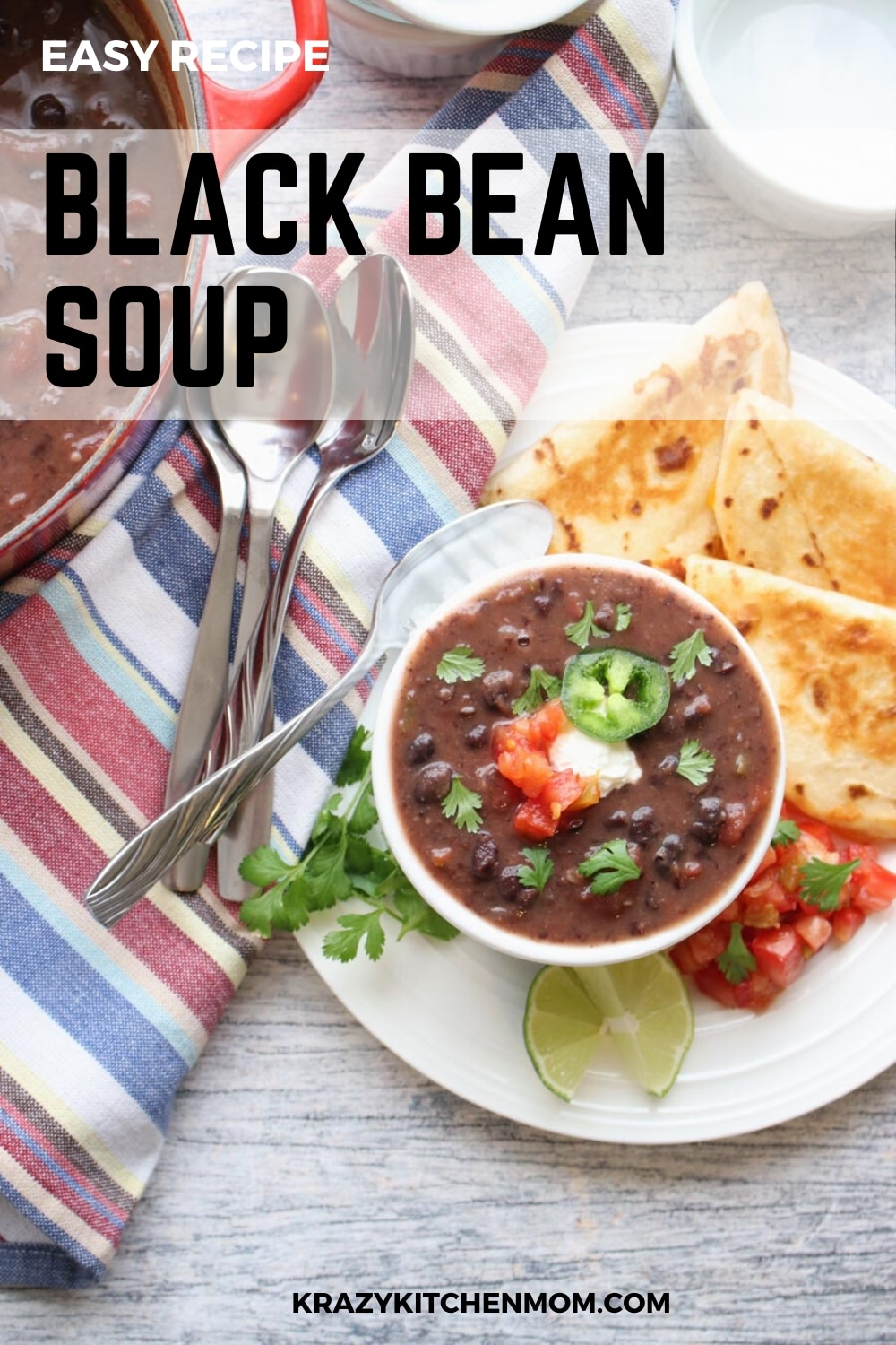 This Black Bean Soup recipe is very easy to make. It uses canned black beans, canned tomatoes and a handful of other ingredients you probably already have in your pantry.  via @krazykitchenmom