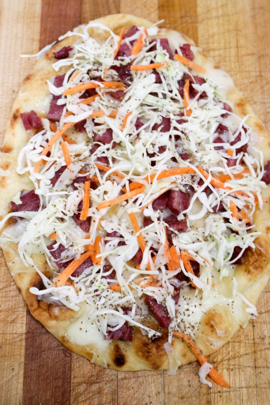Corned Beef and Swiss Flatbread Pizza