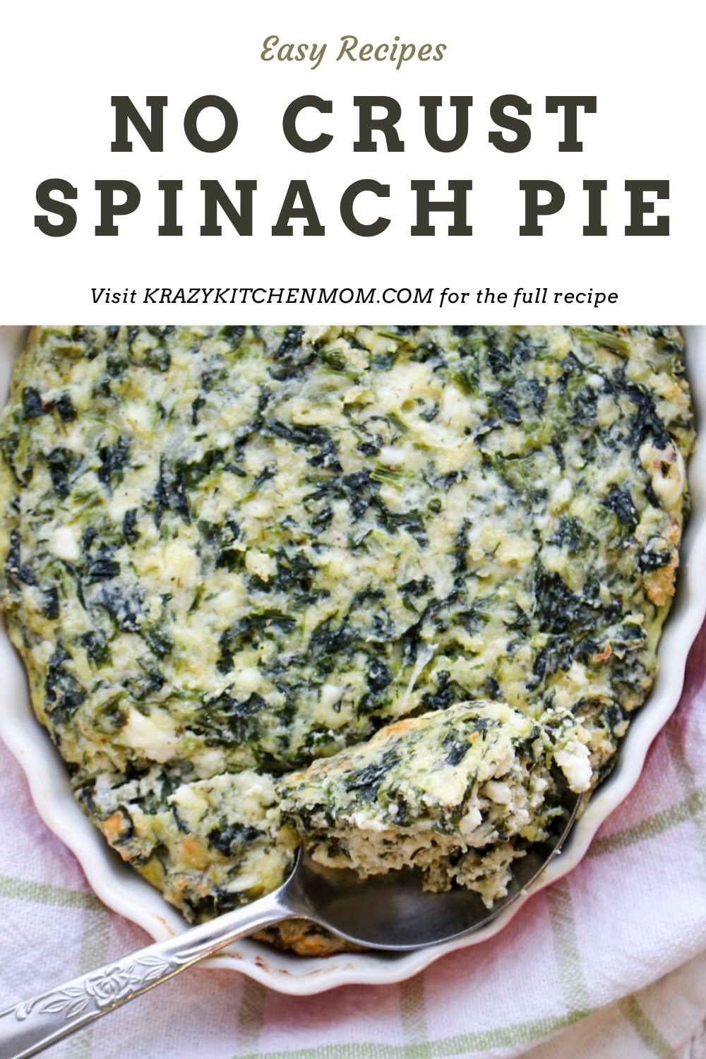 This is the best Crustless Spinach Pie, also called Greek Spanakopita has all of the flavors and many of the same ingredients as Greek Spinach Pie, without the crust. It's the perfect low-carb or Keto spinach pie recipe. via @krazykitchenmom