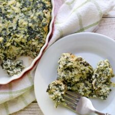 Spinach Pie in casserole dish with a side serving