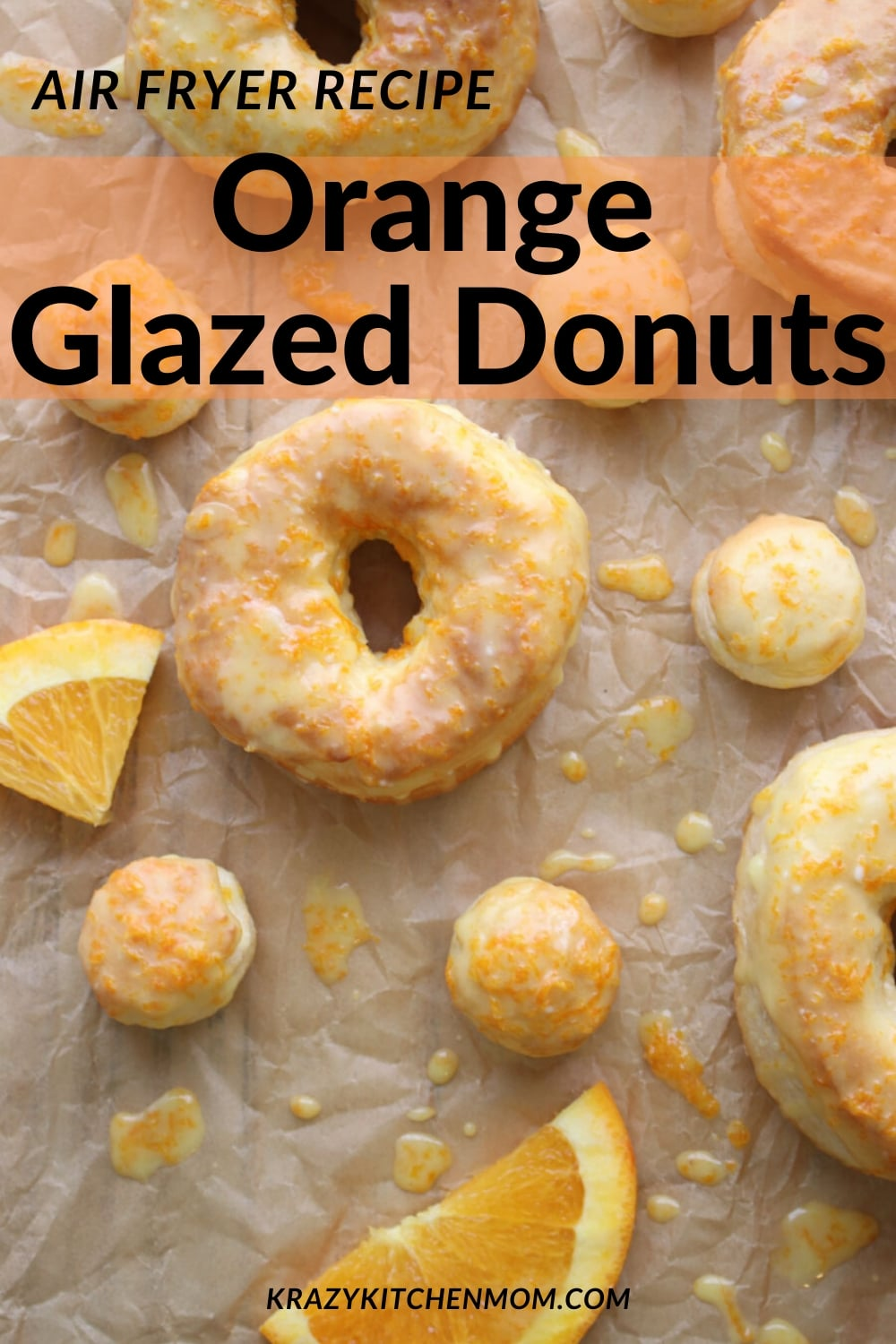Air Fryer Donuts are made with refrigerated biscuit dough, confectioners sugar, and fresh orange juice. Easy, fast and delicious. via @krazykitchenmom