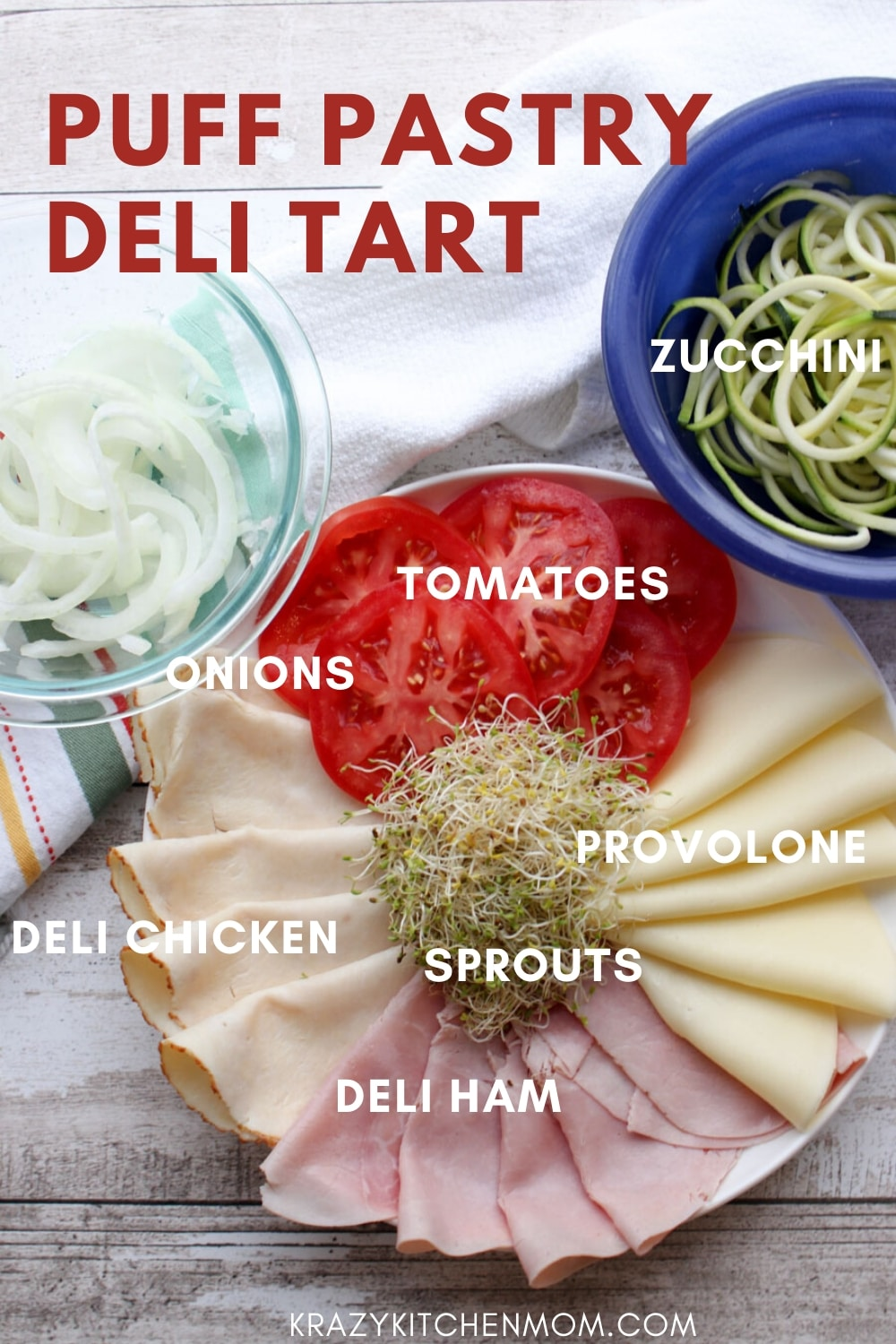 My Puff Pastry Deli Tart is a fresh way to make an open-faced deli sandwich perfect for springtime. It's made with freezer puff pastry, deli meats and cheese, and fresh vegetables.  via @krazykitchenmom