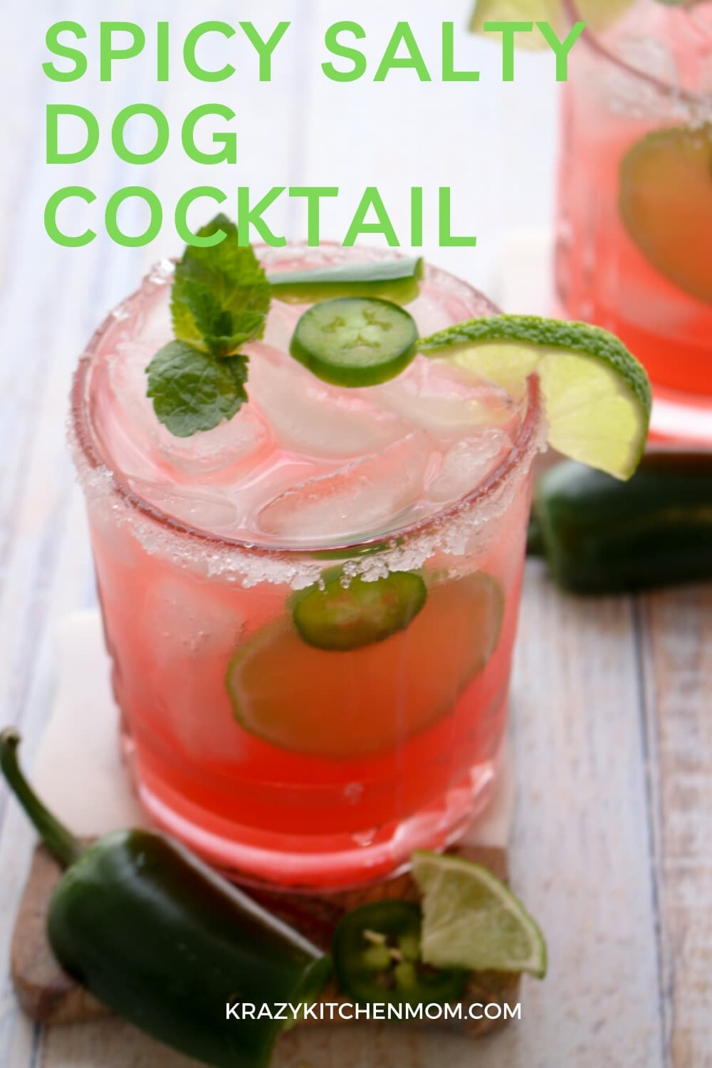 If you like a tart, sweet, spicy, refreshing cocktail, look no further. The Spicy Salty Dog Cocktail is made with vodka, pink grapefruit juice, jalapenos and splash of lime - cheers! via @krazykitchenmom