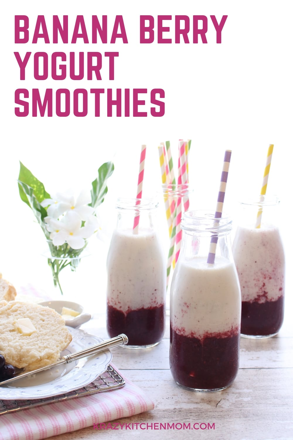 If you like breakfast smoothies, then you will love my Banana Berry Yogurt Smoothies made with Greek yogurt, almond milk, berries, bananas, and chia seeds. via @krazykitchenmom