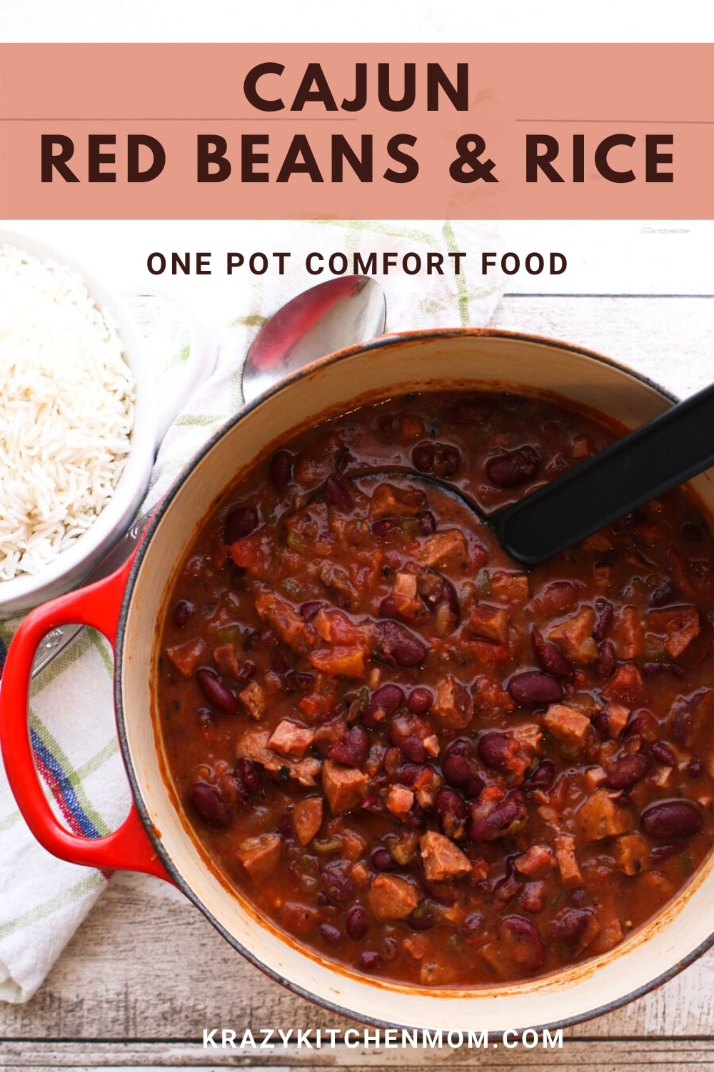 Cajun Red Beans and Rice a traditional southern comfort food. Smoky and spicy - cooked low and slow to create a rich spicy gravy served over white rice.  via @krazykitchenmom