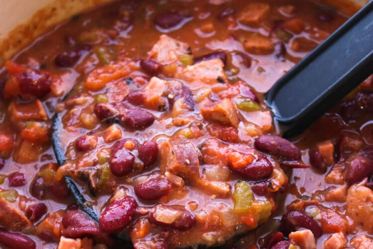 Pot of red beans and rice
