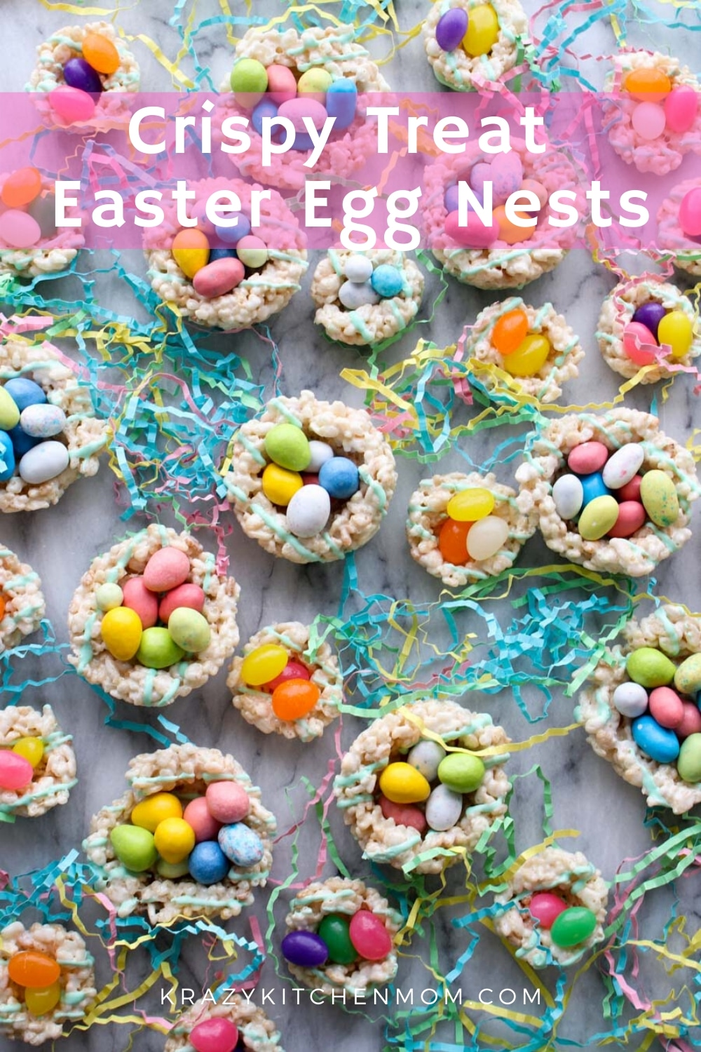 Rice Krispy Easter Egg Nests are a fun no-bake treat that everyone loves. Get the kids involved because they will love making and eating these. via @krazykitchenmom