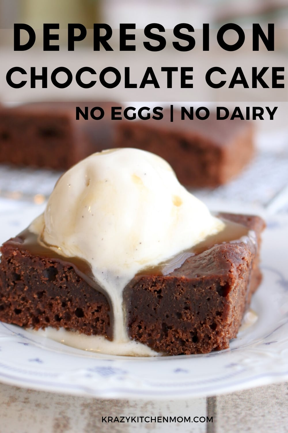 Depression Chocolate Cake is also called Wacky Cake, Crazy Cake, and Three-holed cake. It's a rich chocolate cake that is made without using butter, eggs or milk. It's the perfect dessert for anyone on a dairy-free diet or a vegan diet. via @krazykitchenmom