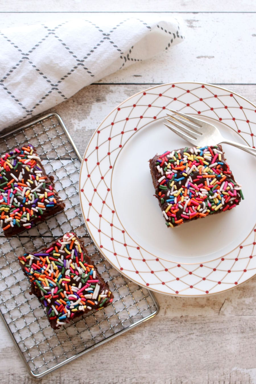 Frosted chocolate cake with sprinkles