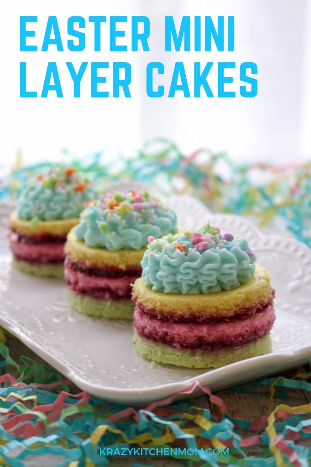 Easter Mini Layer Cakes are made from a box mix and a jar of jam. They are easy to make and pretty to look at. See my step-by-step instructions.  via @krazykitchenmom