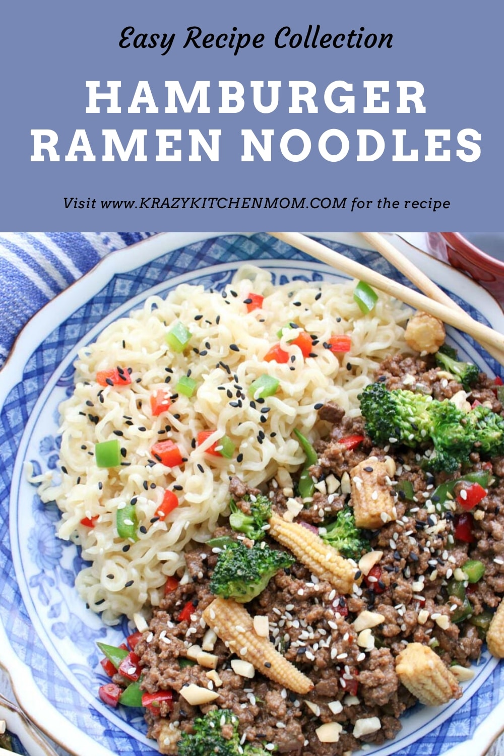 All you need to make Hamburger Ramen Noodles is ground beef, some veggies, some Asian flavors, and ramen noodles.  via @krazykitchenmom