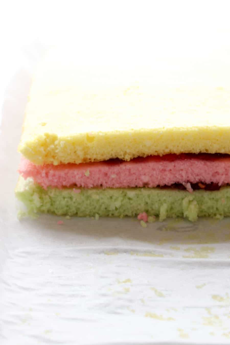 Colored cakes stacked