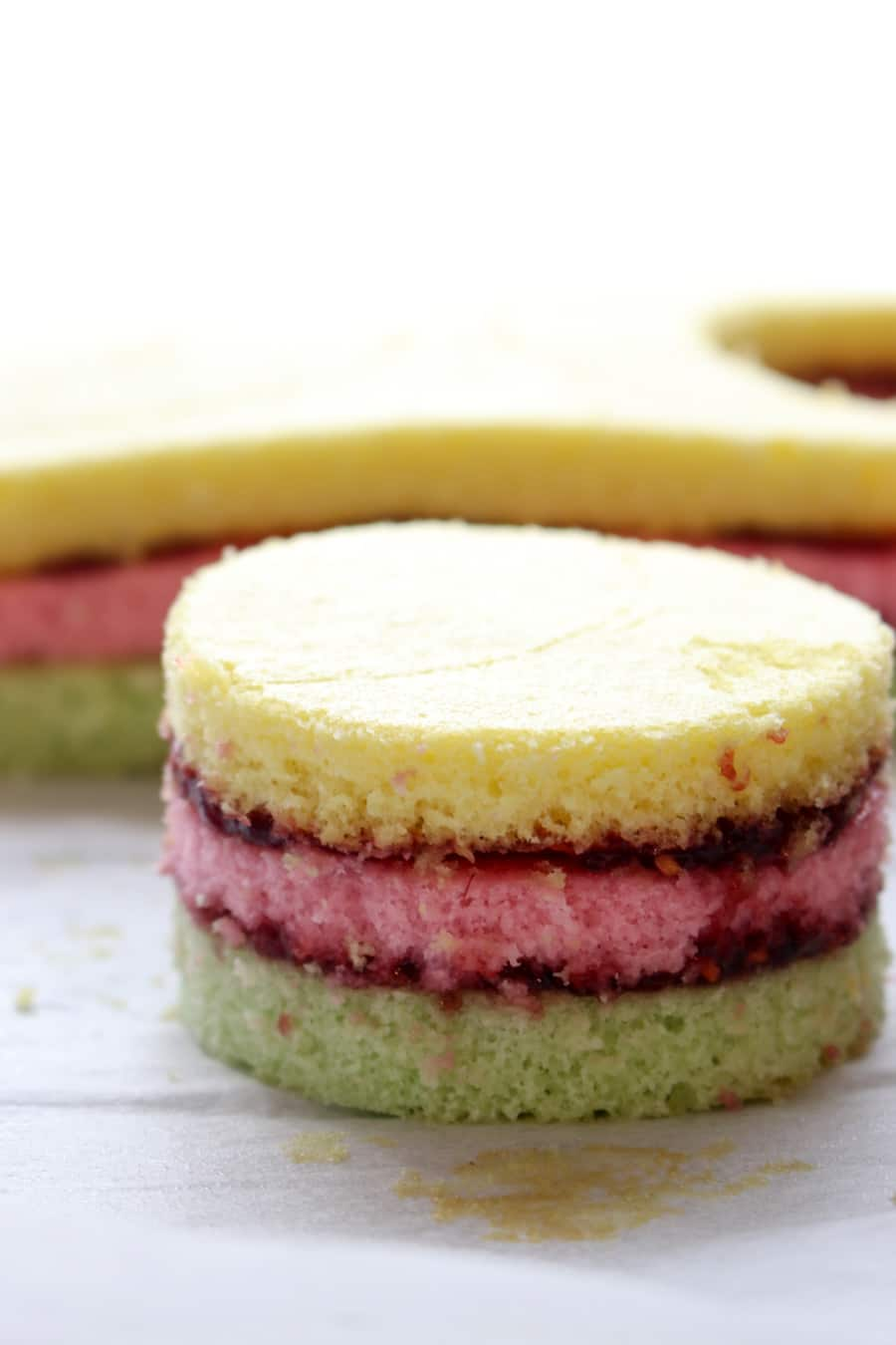 Colored cake stacks cut into a circle