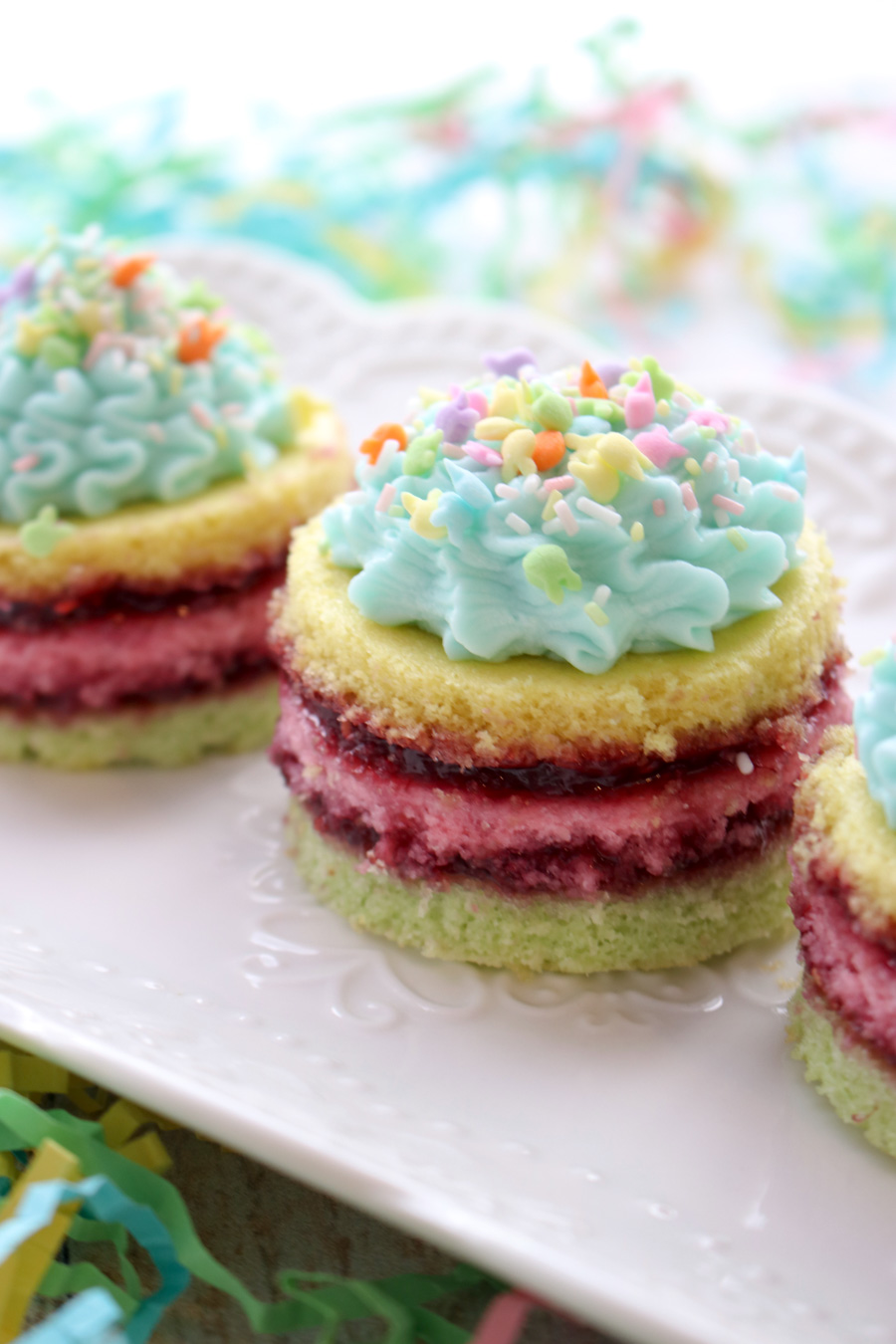 Mini layer cakes on a platter