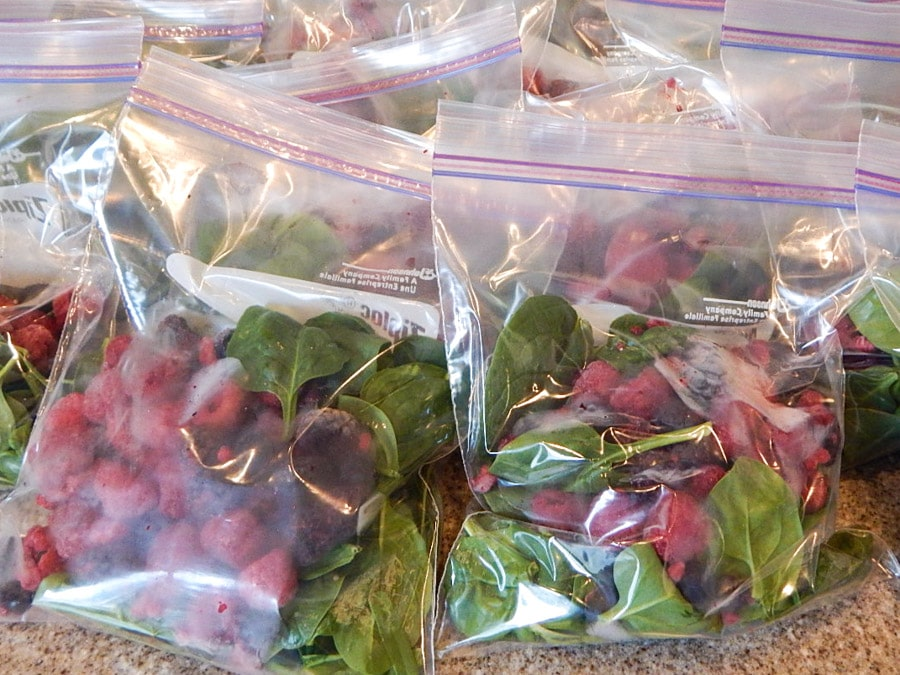 BAGS OF SPINACH AND BERRIES