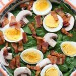 Close up shot of spinach salad