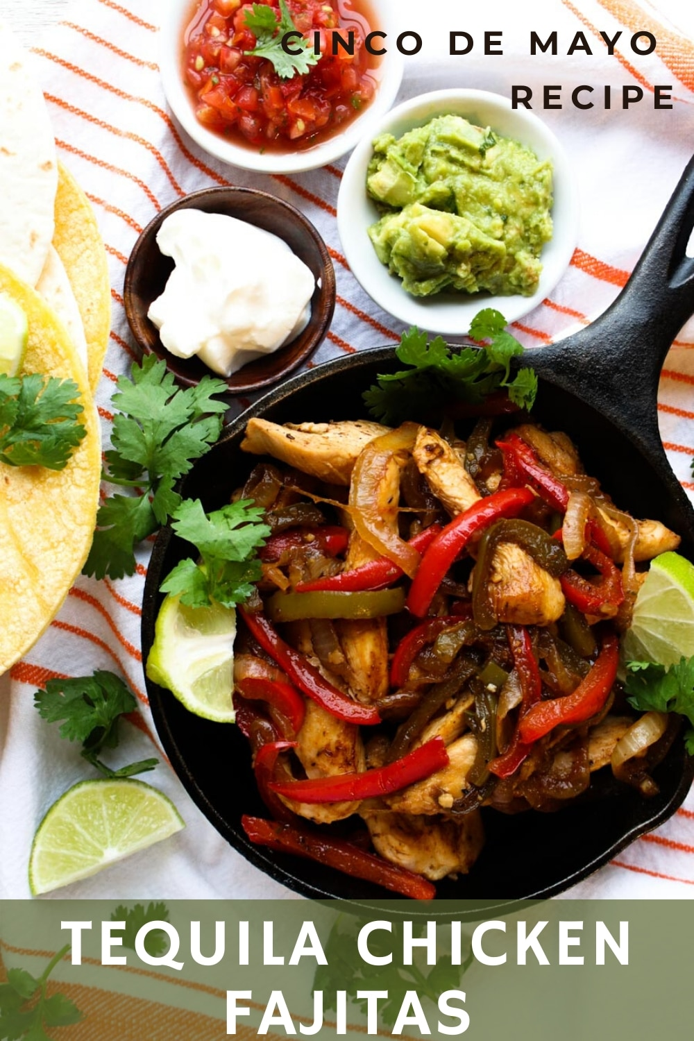 Tequila Chicken Fajitas taste just like your favorite restaurant version with a twist. The twist is in the tequila marinade that makes the chicken extra zesty.  via @krazykitchenmom
