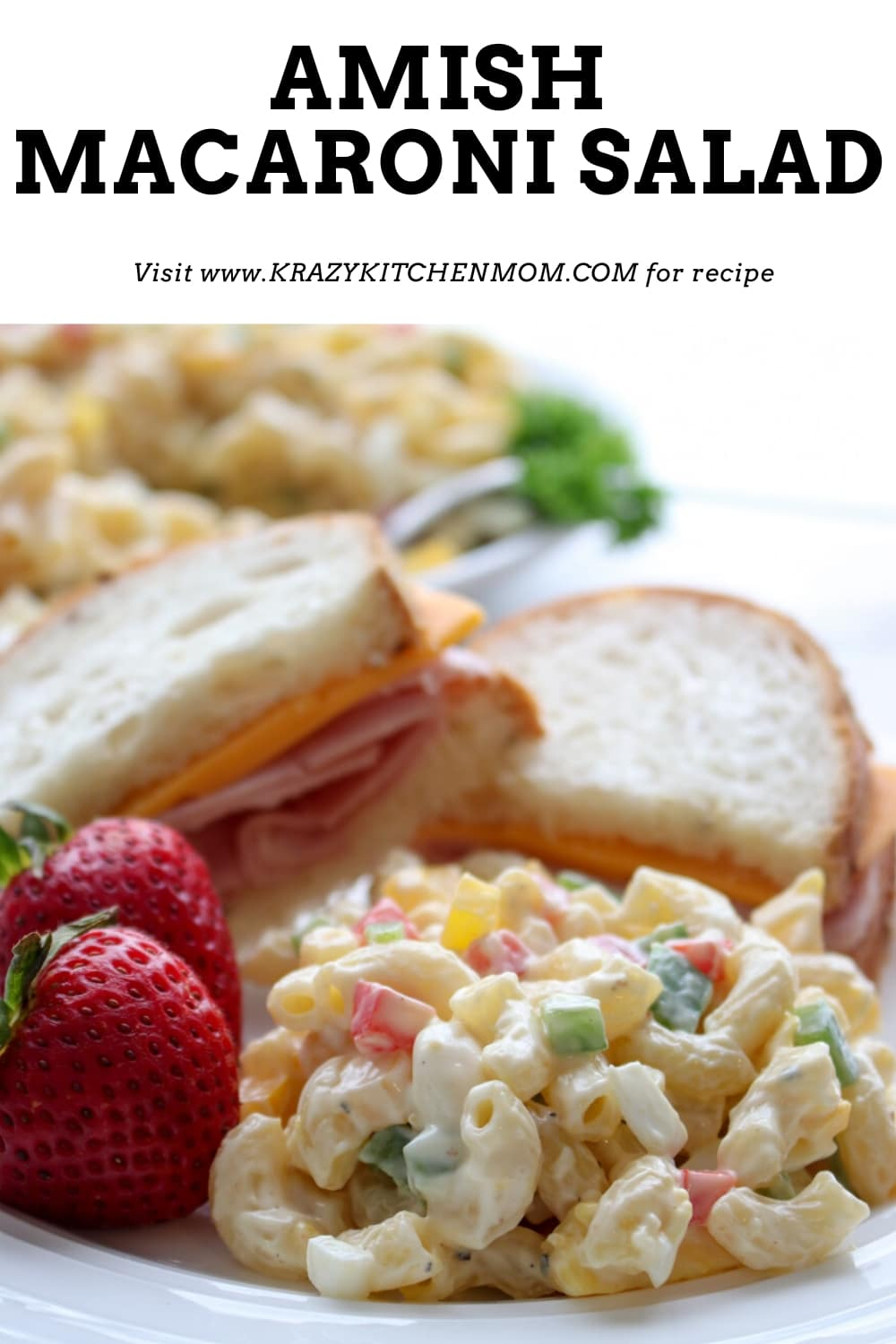 Sweet Tangy Amish Macaroni Salad is a classic summer side dish. It's full of fresh bell peppers, celery, and hard-boiled eggs. via @krazykitchenmom