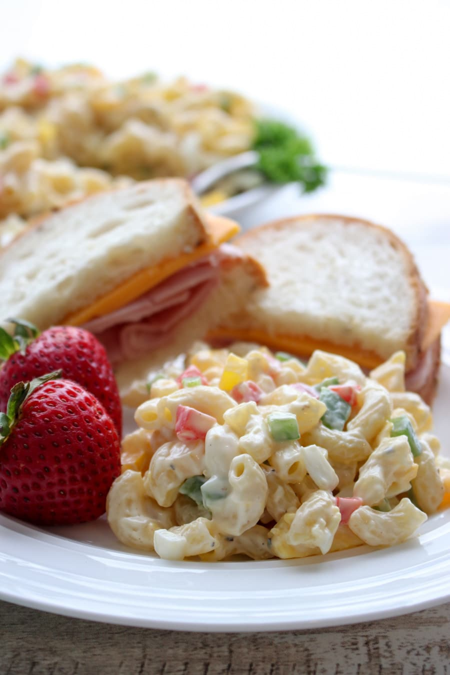 close up shot of macaroni salad with a sandwich