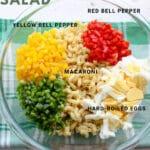 BOWL of Macaroni salad ingredients