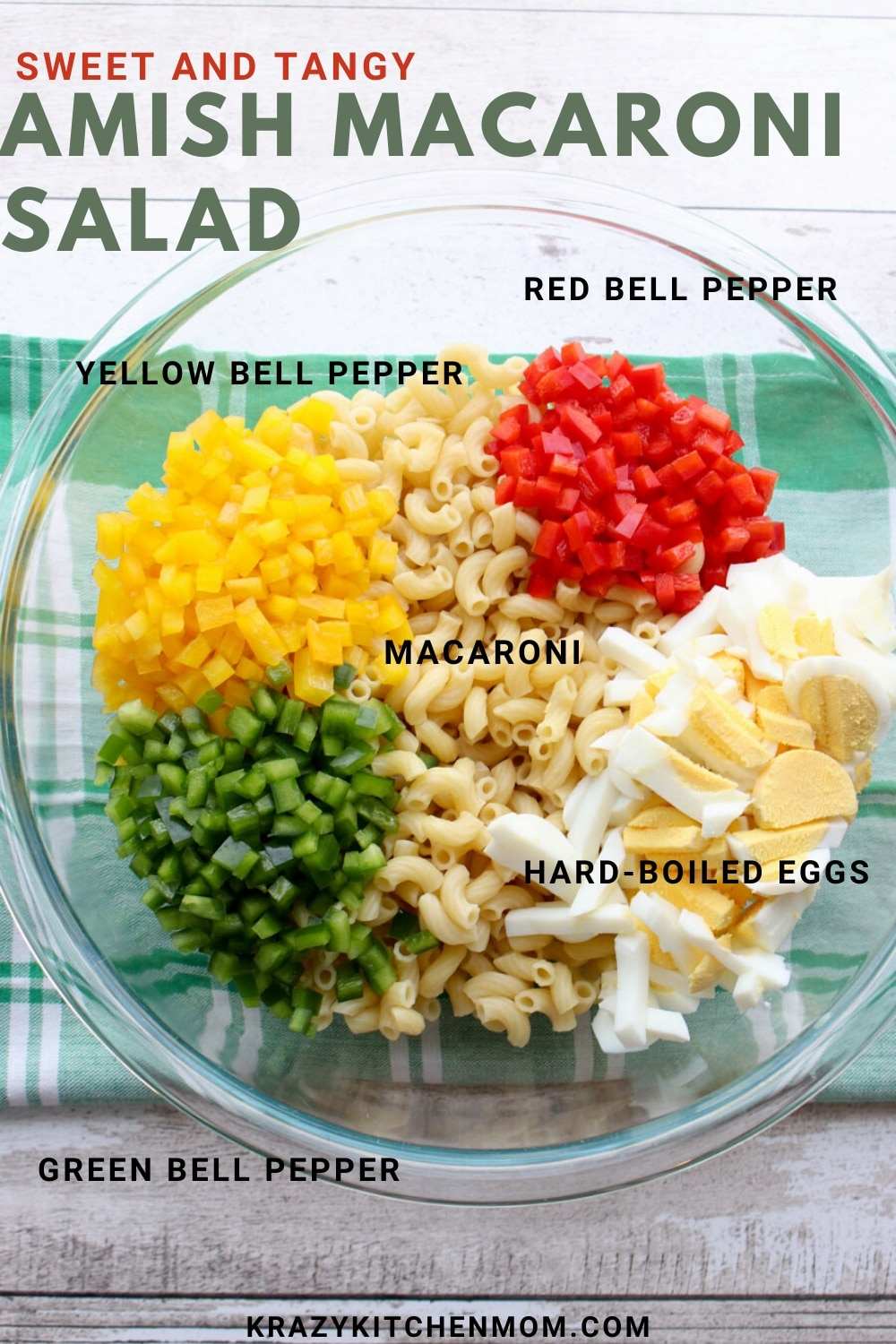 BOWL of Macaroni salad ingredients