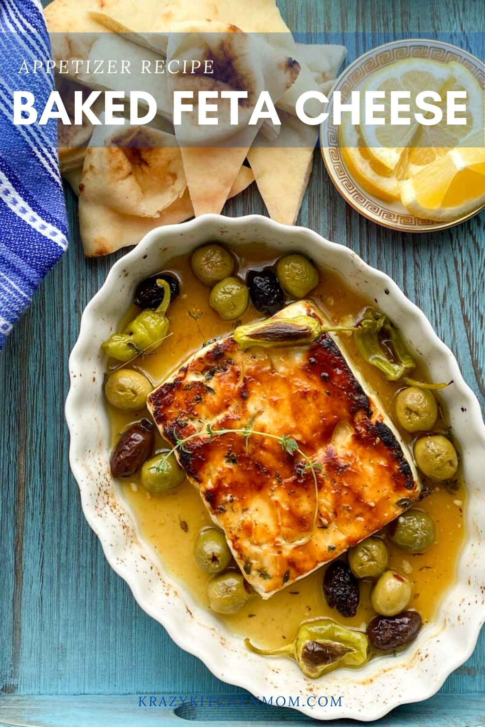Honey Za'atar Baked Feta Cheese is a Greek-inspired appetizer. Once you try this recipe, it will quickly become your go-to appetizer for any gathering. via @krazykitchenmom