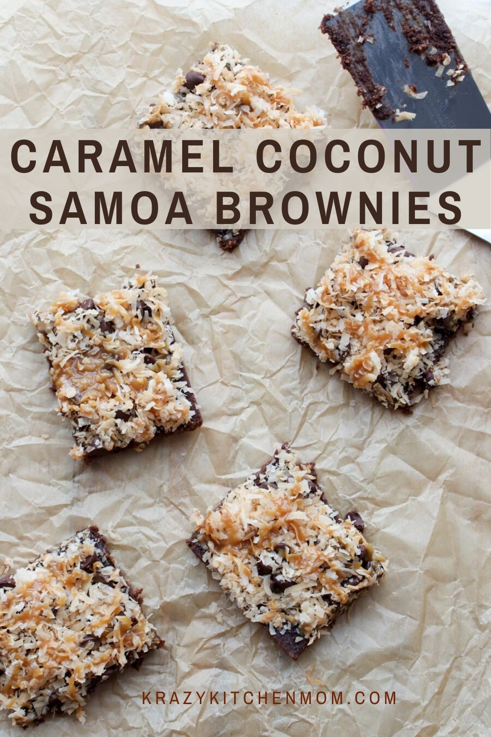 Caramel Coconut Samoa Brownies are chewy chocolate brownies from a box mix that are topped with toasted coconut, caramel, and chocolate.  via @krazykitchenmom